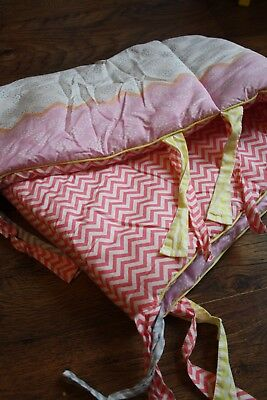 Mothercare Girls Cot Bed Bumper with Ties - Chevron/ Pink/ Coral - 33cm x 165cm