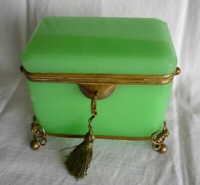 French/Bohemian Opaline Glass Casket / Box 19th C Green Vaseline