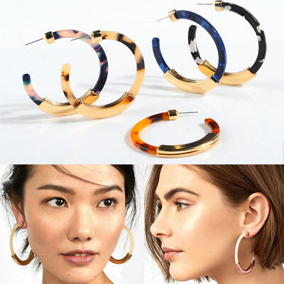 Bohemia Alloy Women Acrylic Acetate Hoop Earrings Big Circle Leopard  Ear studs
