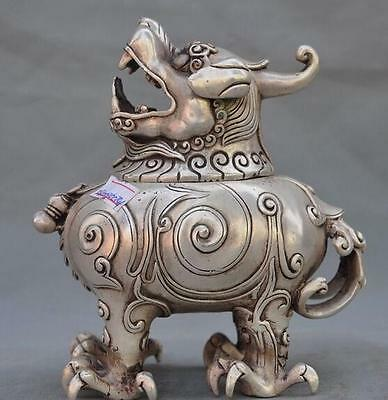 Marked Old Chinese Folk Pure Silver coppeLion Beast Statue Incense Burner Censer