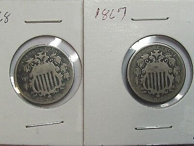 Lot of 2 1867 & 1868 Shield Nickels US Coin
