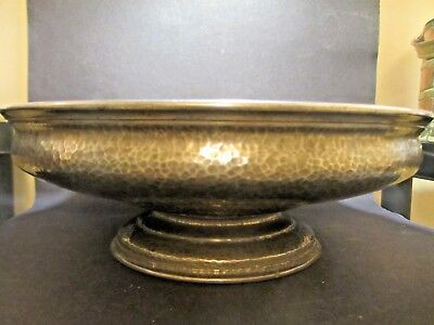 Large Liberty Tudric Pewter Pedestal Fruit Bowl,01274, Solkets, Hammered finish