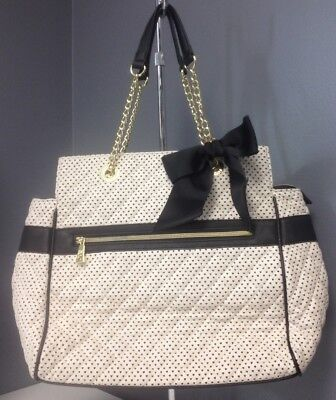 91b67f2fd1 BETSEY JOHNSON Ivory Laser Cut Hearts Black Trim Gold Tone Bow Accent Tote  B4740