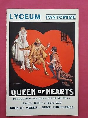 Lyceum Pantomime. Queen of Hearts Boxing day 1933. Book of words. Free postage.