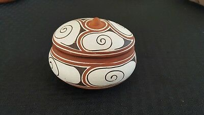 Vintage Quibor Lara Venezuela Eladio Morales Folk Art Red Clay Dish With Lid