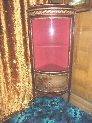 French Style Glazed Corner Cabinet, Gilt Metal Mounted And Painted Panel  -