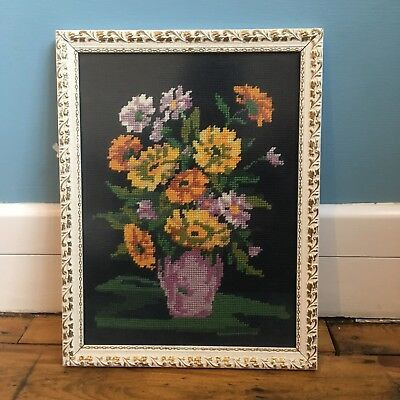 Vintage Tapestry picture Wall Hanging Flowers. Bohemian Romantic Style Hand Made