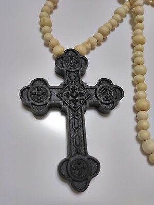 Byzantine Antiochian Carved Wooden neck Cross. Bog Oak Carved. Rare! Orthodox.