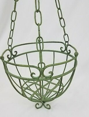 Vintage  wrought iron Victorian style hanging planter basket verdigris finish