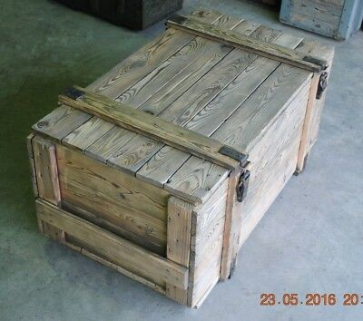 BRUSHED - LARGE VINTAGE WOODEN CHEST TRUNK  APPROX 40 YEARS OLD 105 X 55 X 47 cm