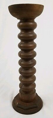 Antique Barley Twist altar candlestick pillar holder English oak vintage 20""