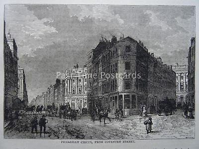 London PICCADILLY CIRCUS FROM COVENTRY STREET Original Print 1878