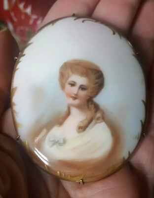 Antique Hand Painted Porcelain Portrait of Victorian Woman Lady Brooch Pin