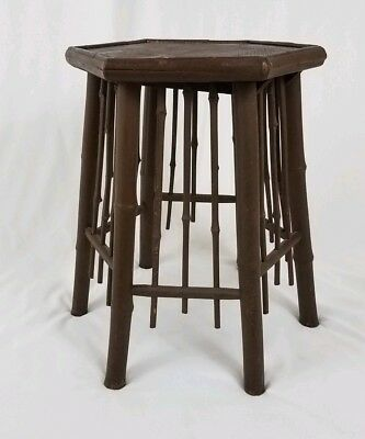 Vintage wood bamboo taboret table plant stand octagon Asian Chippendale antique