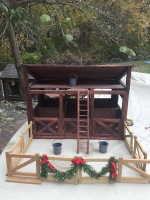 Large Breyer Like Horse Barn With Loft,Ladder 3 Stalls With Removable Dividers