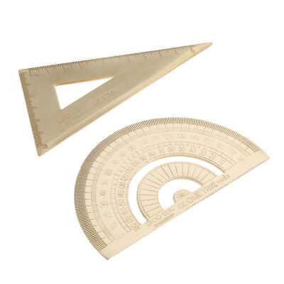 Brass Metal Triangular Ruler,Protractor, Drawing Accessory for Design,Math