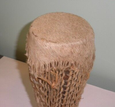 Vintage Native American Indian Ceremonial Double Sided Log Drum Animal Hide Fur