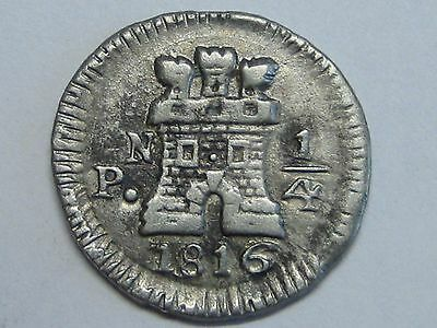1816 Popayan 1/4 Real Ferdinand Vii Colombia Spain Spanish Colonial Silver .