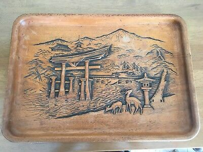 Vintage/Antique Japanese Carved Wood Tray - Scenic - Fine Detail - Signed
