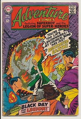 Adventure Comics #363 DC 1967 Superboy, Black Day for the Legion
