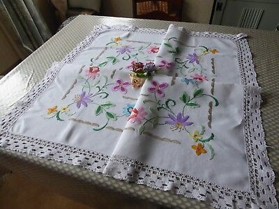 Vintage Hand Embroidered Linen Tablecloth Embroidered In A Jacobean Style