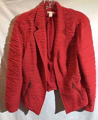 Chicos Red Blazer Jacket, Perfect For Power Outfit (Chico's Size 1 - S/M)
