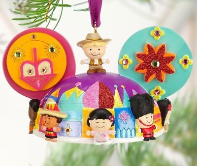 """Disney """" it's a small world """" Mickey Ear / Hat Christmas Ornament New with Tags"""