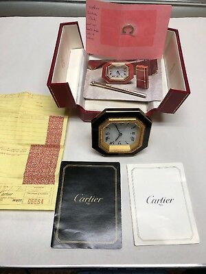 Cartier-A Beautiful Vintage Black & Gold Octagon Travel Alarm Clock