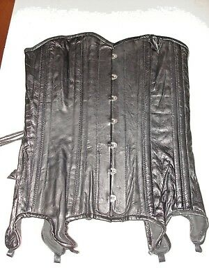New GENUINE LEATHER Corset! Black Overbust, Garter! 28 Metal busk! SEXY! Unique!
