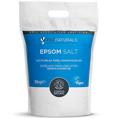 PraNaturals Epsom Salt 5KG Bath Spa Pure Natural Magnesium Sulphate Mineral-Rich