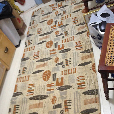 "Vintage 50s Jetson Sci-Fi Bark Cloth Fabric - 2 Panels ea about 74""wide by 84""lo"