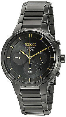 Seiko SSC441 Core Solar Black Dial Black IP Stainless Chronograph Men's Watch