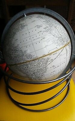 "Beautiful Cram's White 12"" World Globe Rare Spiral Stand Collectible Vintage"