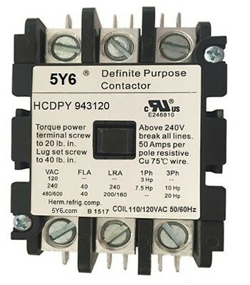 50 AMP DEFINITE PURPOSE CONTACTOR 3 Pole 120V Lighting Heating Refrigeration 40A