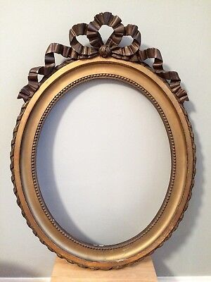 Antique 19th Century French Oval Pine Picture Mirror Bow Frame Water Gilding