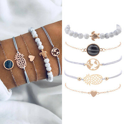 5PCS/Set Boho Sea Turtle Stone Bead Heart Bracelet Bangle Girls Women Jewelry