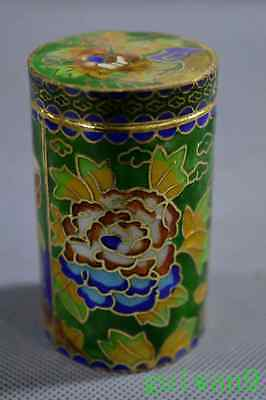 Collectable Chinese Cloisonne Paint Flower Restaurant Souvenir Old Toothpick Box