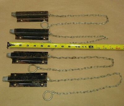 (Lot of 4) Antique Spring Loaded Pull Chain Latches Barn Door Farm Gate Fence