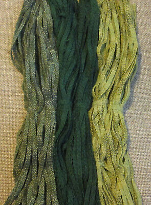 #6 Three Gorgeous Greens 150 Wool Strips for Primitive Rug Hooking