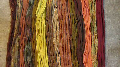 200 PEAK FOLIAGE AUTUMN COLORS  #6 Wool Strips for Primitive Rug Hooking
