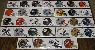 NEW NFL Logo Helmet Stickers Complete Set of ALL 32 Teams! Football Paper Decal