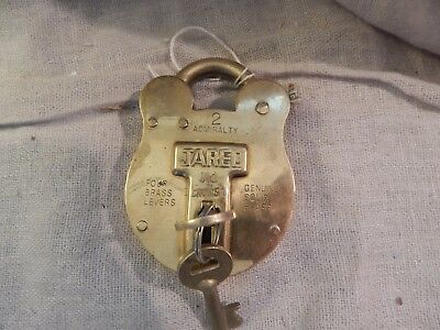 Vintage Jared Old English Solid Brass Padlock with Key Great Condition 4""