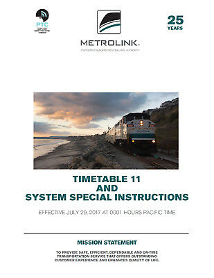 Metrolink Employee Timetable 11 and Special Instructions JULY 29 2017 ETT SCRRA