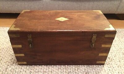 Antique Early 20th Century Camphor Wood Brass Bound Chest Trunk Blanket Box