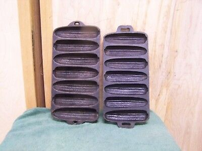 Set of 2 Vintage Cast Iron Corn On The Cob Corn Bread Muffin Pan Mold 1 USA