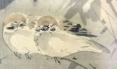 SPARROW JAPANESE PAINTING HANGING SCROLL JAPAN MOON ASIAN VINTAGE BAMBOO 177a