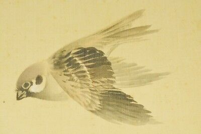 "JAPANESE HANGING SCROLL 84.4"" Painting Bamboo Sparrow OLD INK Antique Japan c588"