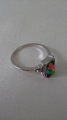 Exquisite Women's 925 Sterling Silver Ring Princess Cut Mystic Rainbow Topaz Eng