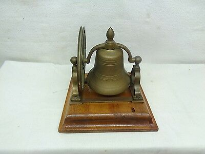 antique Victorian Table Servants Wall Mounted Brass Bell w/wheel