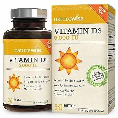 Vitamin D3 5000 IU NatureWise Healthy Muscle Function Bone Health Immune Support